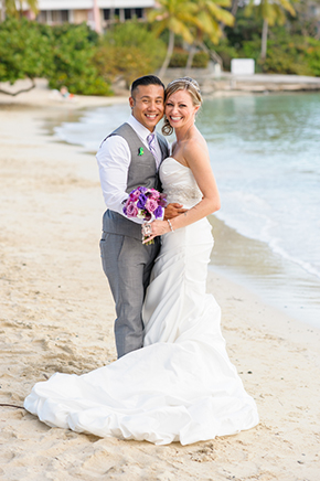 beach wedding photos St. Thomas USVI Destination Wedding in Purple