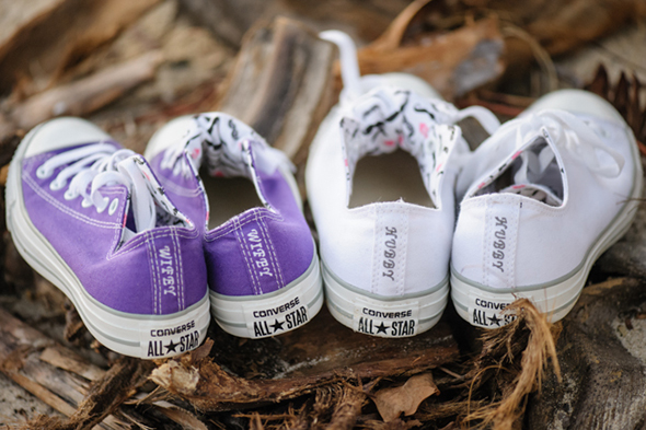 custom wedding sneakers St. Thomas USVI Destination Wedding in Purple