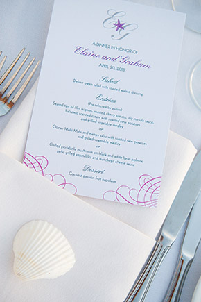 destination wedding menu