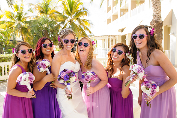 purple bridesmaid dresses St. Thomas USVI Destination Wedding in Purple