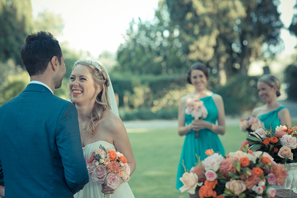 teal bridesmaid dresses An Outdoor Wedding in Tuscany, Italy