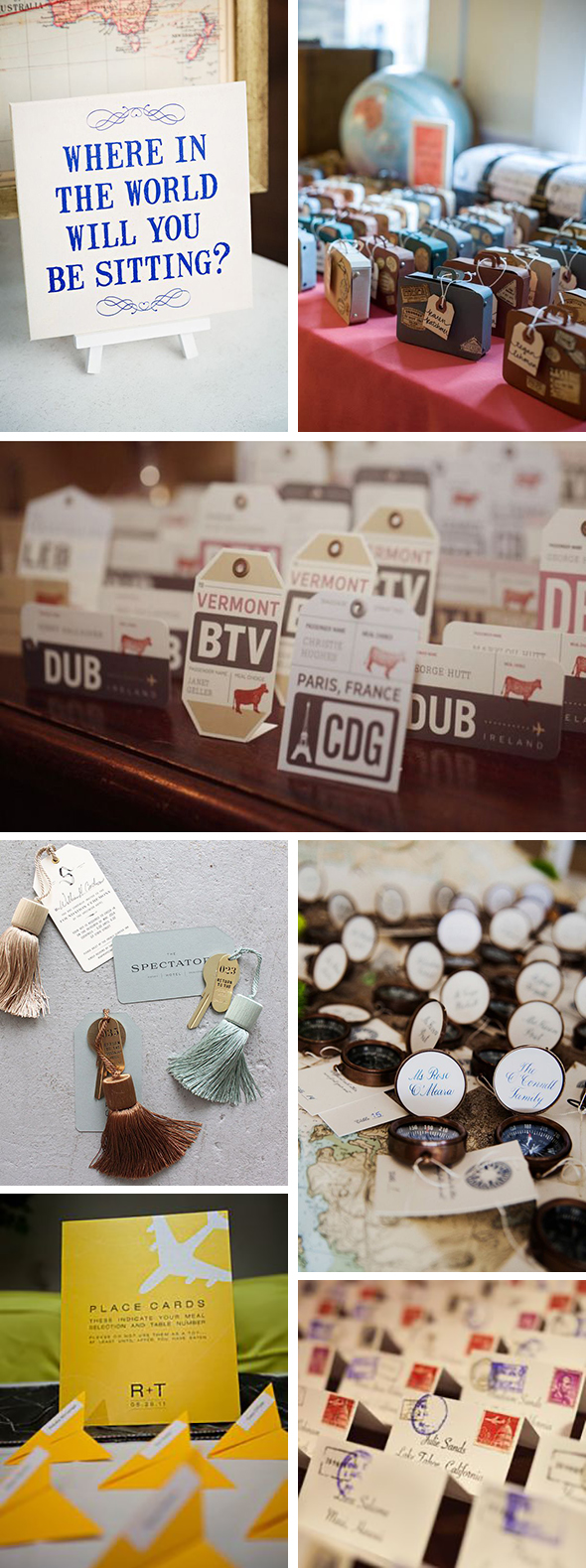 travel themed place cards