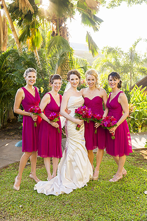 bright pink bridesmaid dresses