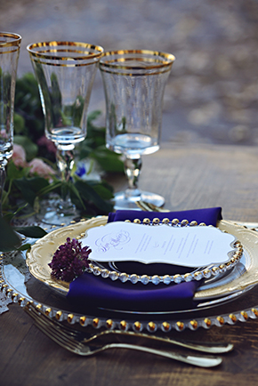 gold and purple wedding