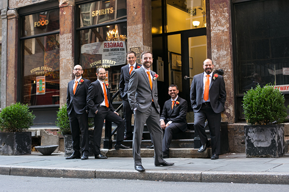 orange and grey wedding suit