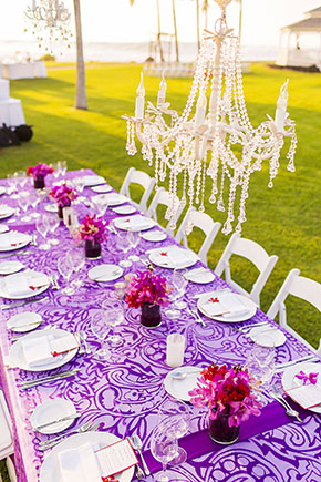 purple tropical wedding