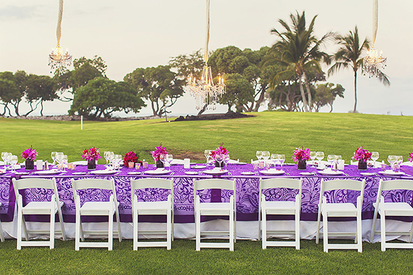 purple tropical weddings