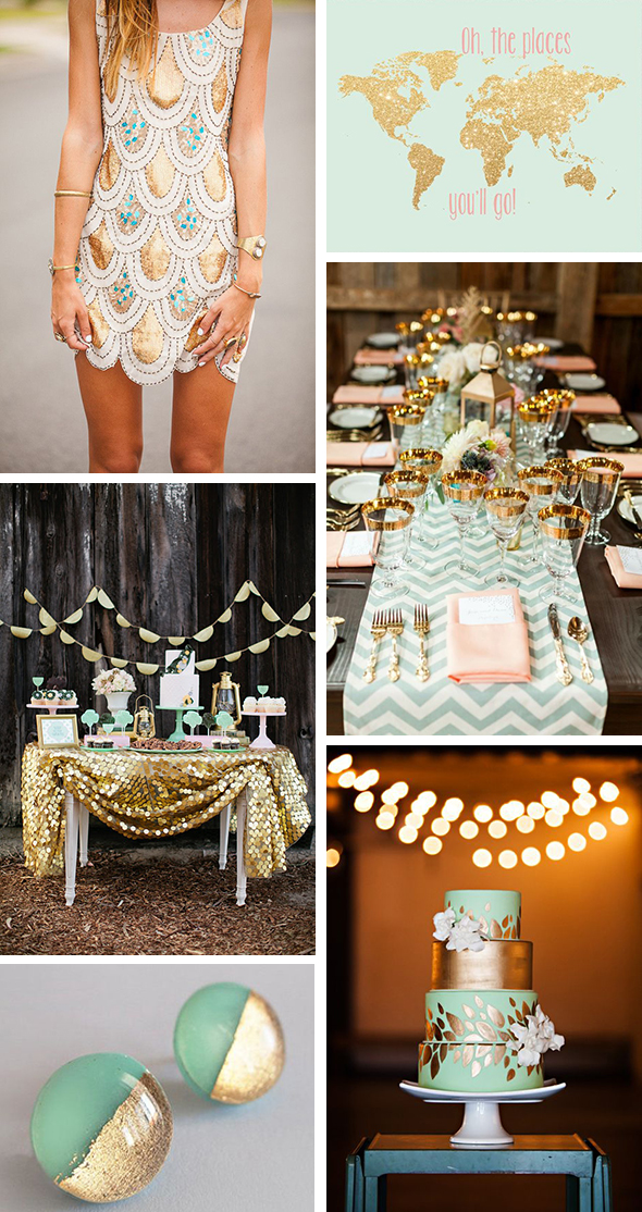 mint and gold destination weddings