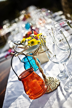 bright colored wedding decor