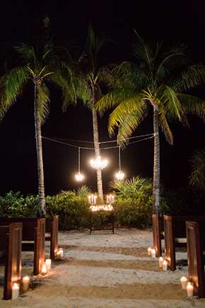 night beach wedding
