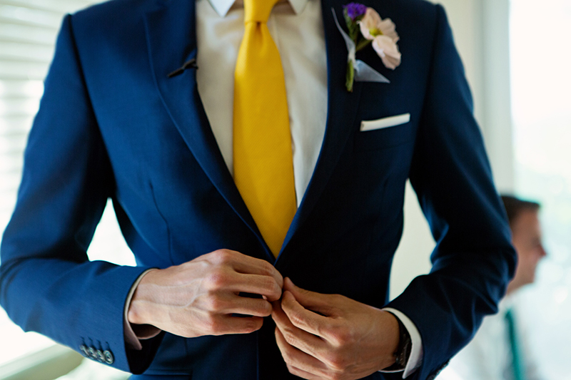 navy yellow wedding