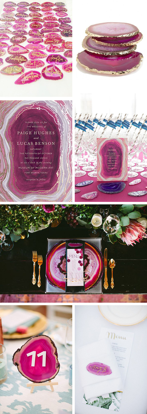 pink agate wedding details