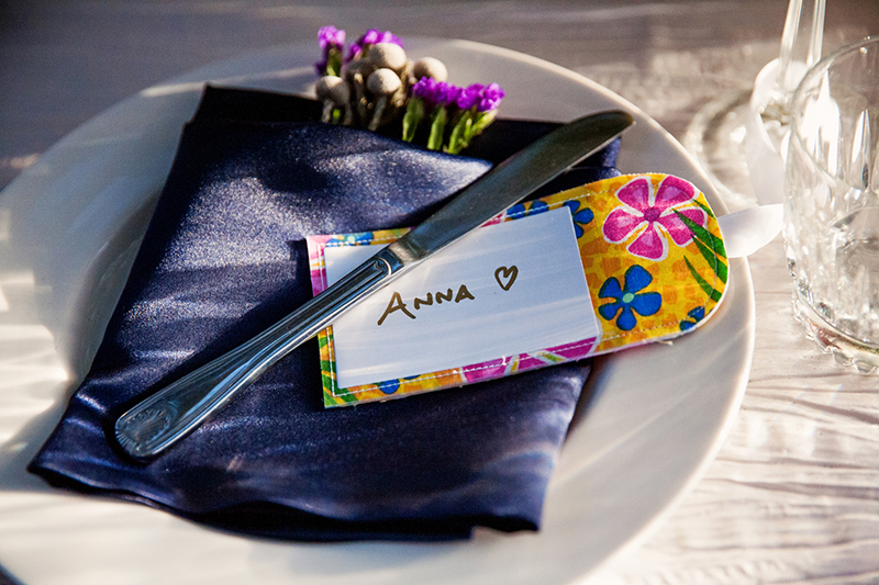 tropical wedding place cards