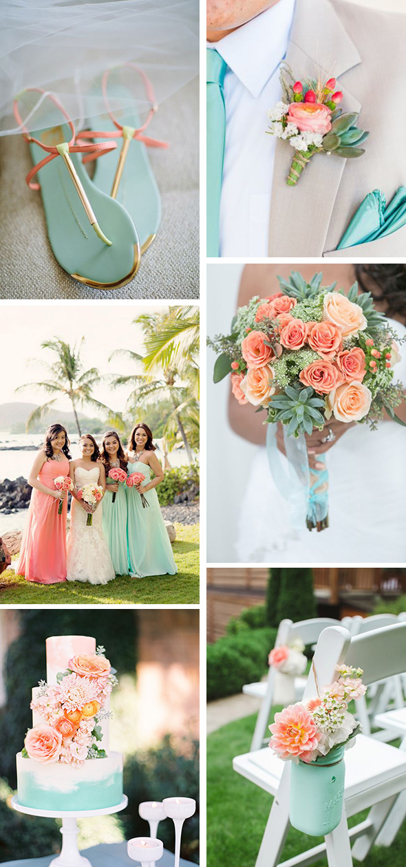 coral and mint weddings