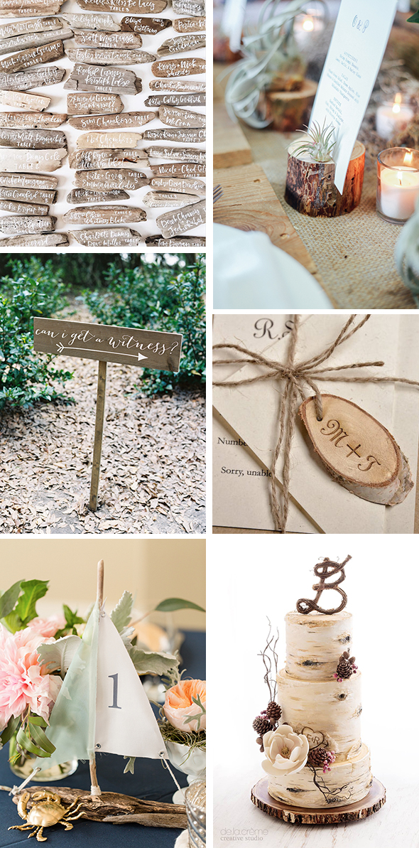 wooden wedding details