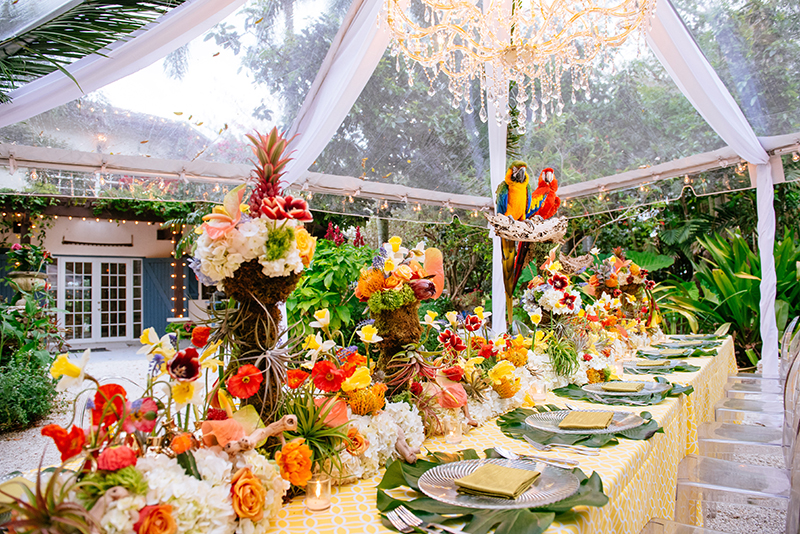 tropical wedding tables
