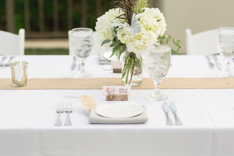 white wedding burlap