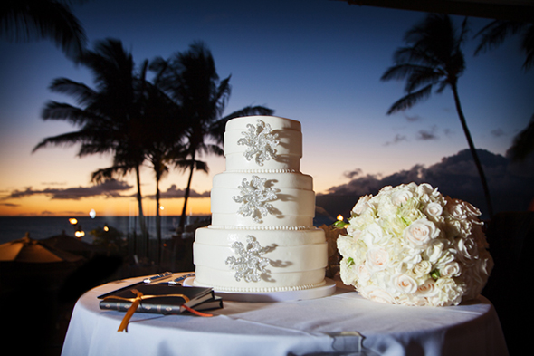 white destination wedding cake An Intimate Destination Wedding in Maui, Hawaii