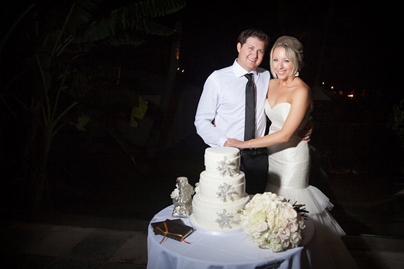 white wedding cake An Intimate Destination Wedding in Maui, Hawaii