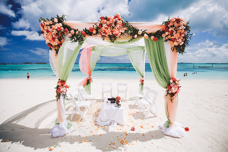 A Beautifully Colorful Beach Wedding In The Bahamas